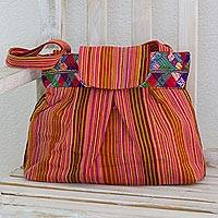 Cotton shoulder bag, 'Ixil Legacy' - Maya Geometry on Hand Woven Cotton Multicolor Shoulder Bag