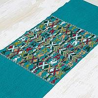Cotton table runner, 'Prosperous Home' - Hand Woven  Green CottonTable Runner with Maya Symbols