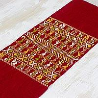 Cotton table runner, 'Family Life' - Hand Woven Russet Cotton Table Runner with Maya Birds
