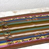 Cotton table runner, 'Life in Color' - Maya Birds on Hand Woven Cotton Table Runner from Guatemala