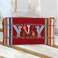 Cotton makeup purse, 'The Birds and the Milpa' - Hand Woven Cotton Lined Cosmetics Purse with Birds and Corn