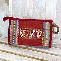 Cotton cosmetics bag, 'Unconditional Love' - Hand Woven Cotton Cosmetics Purse with Mother Bird and Corn