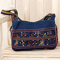 Cotton shoulder bag, 'Inspiring Harmony' - Cotton Shoulder Bag Hand Woven Maya Glyphs 3 Compartments