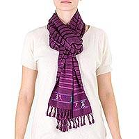 Cotton scarf, 'Birds on Violet' - Purple Handwoven Cotton Scarf with Maya Bird Motifs