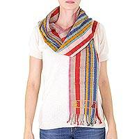 Cotton scarf, 'Balam at Sunrise' - Handwoven Striped Cotton Scarf with Maya Deer Motifs