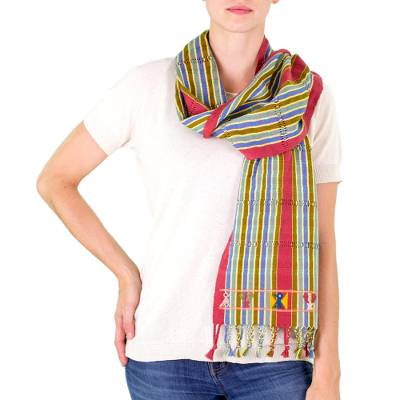 Cotton scarf, 'Quetzal in the Forest' - Quetzal Bird Handwoven Striped Cotton Scarf from Guatemala