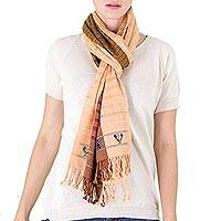 Cotton scarf, 'Noble Maya Art' - Tri-Color Handwoven Cotton Scarf with Bird Motifs