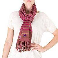 Cotton scarf, 'Kingdom of the Deer' - Maya Deer Motif Handwoven Cotton Scarf in Fuchsia