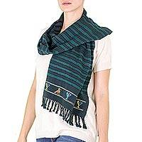 Cotton scarf, 'Birds of Ratzamut' - Handwoven Green and Black Maya Bird Motif Cotton Scarf