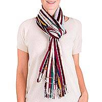 Cotton scarf, 'Animal Legends' - Guatemalan Striped Multicolor Handwoven Cotton Scarf