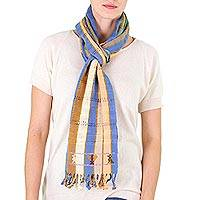 Cotton scarf, 'Sand and Sky' - Guatemala Striped Cotton Scarf in Blues and Browns