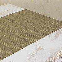 Cotton table runner, 'Khaki Legacy' - Hand Woven Cotton Table Runner Guatemala Table Linen