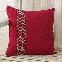 Cotton cushion cover, 'Red Tecpan Diamonds' - Handwoven Red Cotton Cushion Cover from Guatemala