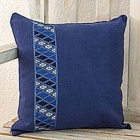 Cotton cushion cover, 'Blue Tecpan Diamonds' - Blue Cotton Handwoven Cushion Cover from Guatemala