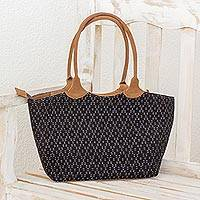 Cotton and leather accent shoulder bag, 'Midnight Diamonds' - Black Grey Hand Woven Cotton Leather Accent Shoulder Bag