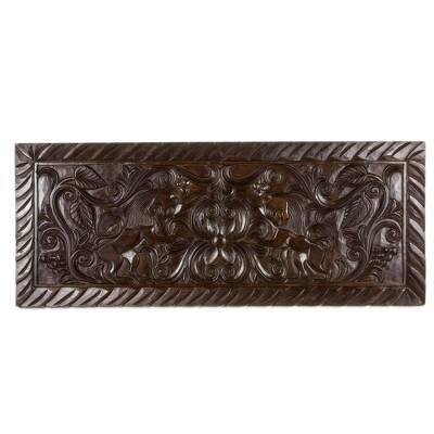 Artisan Crafted Wood Relief Panel with Lion Motif