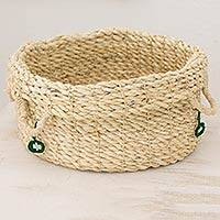 Maguey basket, 'Ixchel in the Forest' - Handwoven Maguey Fiber Open Basket from Guatemala