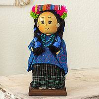 Pinewood and cotton display doll, 'Santa Catarina Palopo' - Collectible Guatemalan Display Doll with Traditional Attire