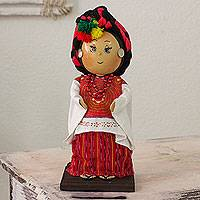 Pinewood and cotton display doll, 'San Mateo Ixtatan' - Guatemalan Collectible Display Doll with Traditional Attire