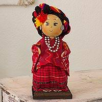 Pinewood and cotton display doll, 'Tamahú' - Collectible Guatemalan Display Doll in Traditional Attire