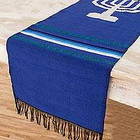 Cotton table runner, 'Blue Menorah Lights' - Blue Cotton Handwoven Jewish Menorah Table Runner