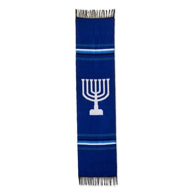 Cotton table runner, 'Blue Menorah Lights' - Blue Cotton Handwoven Jewish Menorah Table Runner