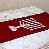 Cotton table runner, 'Red Menorah Lights' - Handwoven Red Cotton Hanukkah Menorah Table Runner
