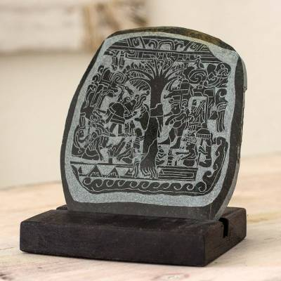 Jade plaque, 'Maya Tree of Life Stone' - Green Jade Maya Archaeological Replica Plaque and Wood Stand