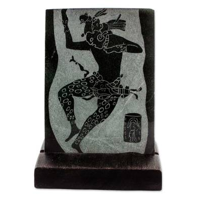 Jade plaque, 'Maya Jaguar Dancer' - Museum Replica Maya Jaguar Dancer Green Jade Plaque