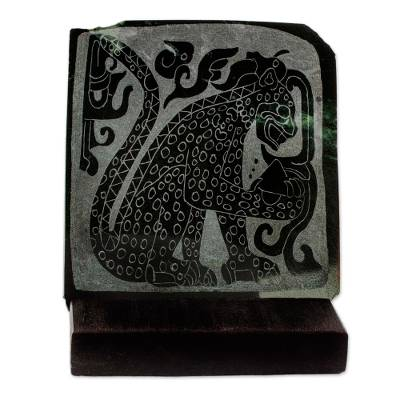 Jade plaque, 'Maya Spotted Jaguar' - Chichen Itza Jaguar Replica Green Jade Plaque