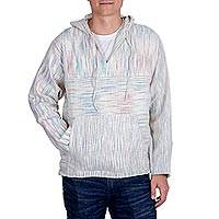 Men's cotton hooded sweater, 'Subtlety' - Casual Men's Cotton Hooded Pullover Sweater with Drawstring