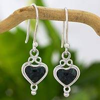 Jade heart earrings, 'Heart of the Maya' - Jade Hearts on 925 Sterling Silver Earrings Crafted by Hand