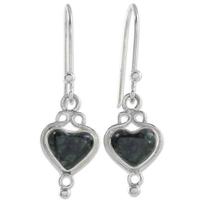 Jade Hearts on 925 Sterling Silver Earrings Crafted by Hand