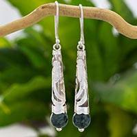 Jade dangle earrings, 'Quetzal Window' - 925 Silver Quetzal Bird and Jade Artisan Crafted Earrings