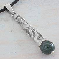 Jade pendant necklace, 'Quetzal Window' - 925 Silver Quetzal Bird and Jade Handmade Leather Necklace