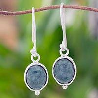 Jade dangle earrings, 'Ancient Crown' - Sterling Silver Earrings with Light Green Guatemalan Jade