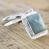 Jade cocktail ring, 'Iximche Square' - Guatemalan Jade on Artisan Crafted Sterling Silver Ring