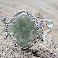 Jade cocktail ring, 'Jade Love' - Artisan Crafted Jade and Sterling Silver Cocktail Ring