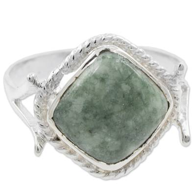 Artisan Crafted Jade and Sterling Silver Cocktail Ring