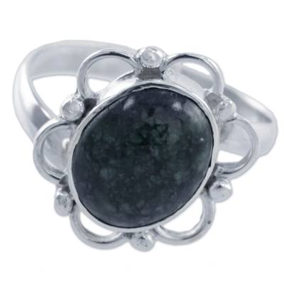 Sterling Silver Flower Ring with Natural Jade from Guatemala
