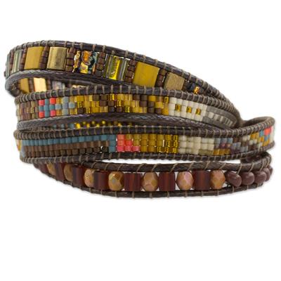 Beaded wristband bracelet, 'Fertile Lands' - Handmade Four Strand Multi colour Bead Bracelet with Leather