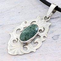 Jade pendant necklace, 'Mirror of Tradition' - Sterling Silver Leather Necklace with Natural Guatemala Jade