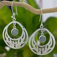 Jade dangle earrings, 'Quetzal Romance' - Handcrafted 925 Silver and Jade Quetzal Bird Earrings