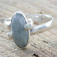 Jade and sterling silver cocktail ring, 'Jade Liberty' - Handmade Jade and Sterling Silver Ring from Guatemala