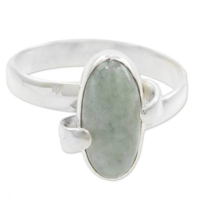 Handmade Jade and Sterling Silver Ring from Guatemala
