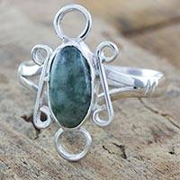Jade cocktail ring, 'Timeless Maya' - Guatemalan Natural Jade on Handcrafted Sterling Silver Ring