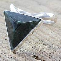 Jade and sterling silver cocktail ring, 'Lucky Triangle' - Hand Crafted Jade and Sterling Silver Cocktail Ring