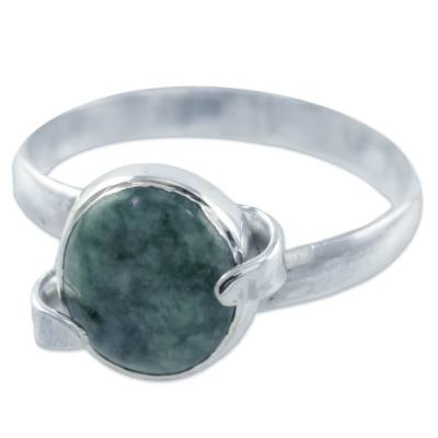 Artisan Crafted Ring with Natural Jade and Sterling Silver