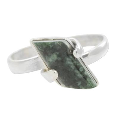 Hand Made Jade Sterling Silver Cocktail Ring from Guatemala