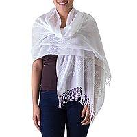 Cotton shawl, 'Falling Stars' - White on White Handwoven Maya Cotton Shawl
